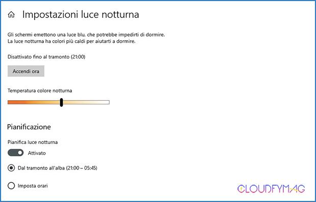 Luce notturna, filtro per la luce blu su Windows 10