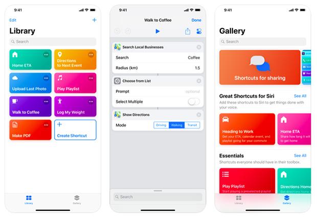 app comandi shortcuts